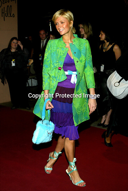 2/7/04, BEVERLY HILLS,CALIFORNIA ---  Paris Hilton arrives at Clive Davis' Pre-Grammy awards party at the Beverly Hills Hotel. --- Chris Farina
