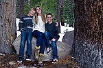 Brothers with sister, portrait in Mammoth Lakes, California