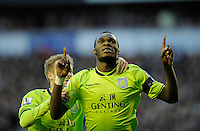 15.12.12 Liverpool, England.   Christian Benteke  of Aston Villa celebrates after scoring first goal  during the Premier League game between Liverpool and Aston Villa from Anfield,Liverpool