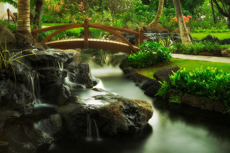 Bridge in garden at Four Seasons Hotel. Ko Olina, Oahu, Hawaii