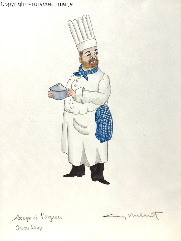 """Soupe a l'Oignon<br /> Onion Soup<br /> 10x15 ORIGINAL Watercolor on Paper<br /> $1,750"