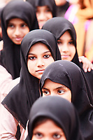 Asia, India,Kerala, Cheruthuruthy, Kalamandalam dance school founded by the poet Padmabhooshan Vallathol Narayana Menon,muslim girls visiting the school