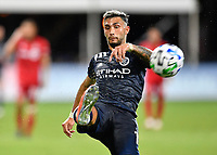 LAKE BUENA VISTA, FL - JULY 26: Valentín Castellanos of New York City FC takes a shot during a game between New York City FC and Toronto FC at ESPN Wide World of Sports on July 26, 2020 in Lake Buena Vista, Florida.