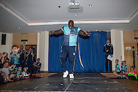 "Wycombe Wanderers new signing, Adebayo Akinfenwa, aka ""The Beast"", is unveiled during the 2016/17 Kit Launch of Wycombe Wanderers to the public at Adams Park, High Wycombe, England on 10 July 2016. Photo by David Horn."