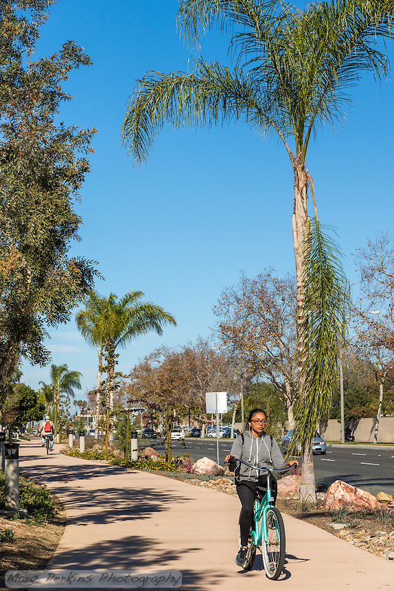 A vertically framed view of two bicyclists riding on the Harbor Boulevard Cornerstone Bike Trail in Costa Mesa, California under a clear blue sky.  The foremost cyclist is a woman riding towards the path on an aqua cruiser; the second cyclist is visible in the distance riding away from the camera wearing a red backpack.  The landscaping of the path, including a diversity of plants and rocks, can be seen, as can the street and some light posts.  The landscape architecture work on the project was done by David Volz Design.