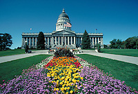 Utah State Capitol Building, government offices, architecture, front view, flowering plants. Salt Lake City Utah.