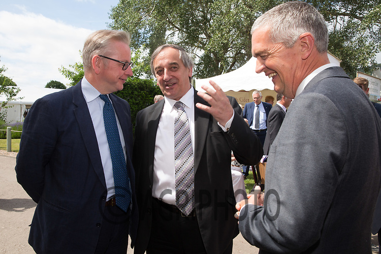 Michael Gove,Secretary of State for Environment, Food and Rural Affairs meets with Meurig Raymond President of the National Farmers Union and Guy Smith Vice President of the National Farmers Union at the 2017 Royal Three Counties show<br /> Picture Tim Scrivener 07850 303986<br /> ….covering agriculture in the UK….