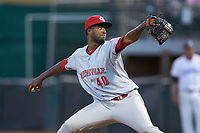 Greeneville Reds relief pitcher Francis Jones (40) in action against the Pulaski Yankees at Calfee Park on June 23, 2018 in Pulaski, Virginia. The Reds defeated the Yankees 6-5.  (Brian Westerholt/Four Seam Images)