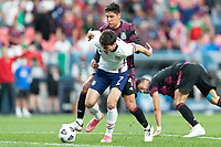 DENVER, CO - JUNE 6: Gio Reyna #7 of the United States moves with the ball during a game between Mexico and USMNT at Mile High on June 6, 2021 in Denver, Colorado.