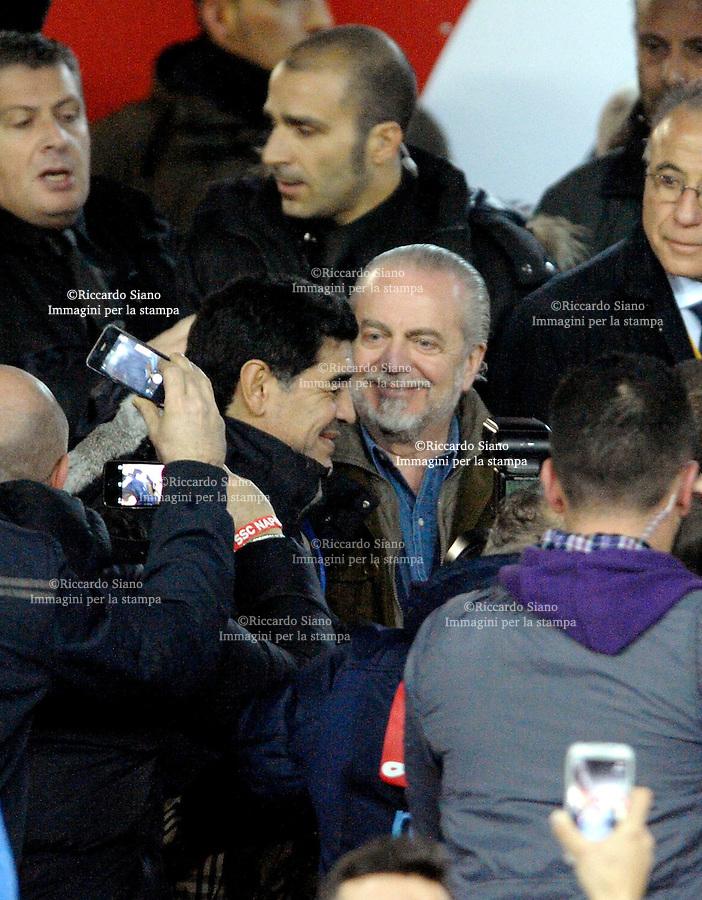 - NAPOLI 12 FEB  -  Stadio San Paolo Coppa Italia   Napoli - Roma<br />  NELLA FOTO:  maradona e de laurenttis<br />  © Riccardo Siano