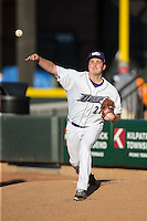 Winston-Salem Dash starting pitcher Jordan Stephens (27) warms up in the bullpen prior to the game against the Potomac Nationals at BB&T Ballpark on May 13, 2016 in Winston-Salem, North Carolina.  The Dash defeated the Nationals 5-4 in 11 innings.  (Brian Westerholt/Four Seam Images)