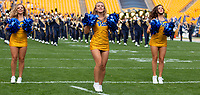 Members of the Pitt dance team perform before the game. The Pitt Panthers defeated the Syracuse Orange 44-37 in overtime at Heinz Field in Pittsburgh, Pennsylvania on October 6, 2018.