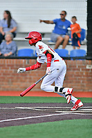 Johnson City shortstop Delvin Perez (11) swings at a pitch during a game against the Bristol Pirates at TVA Credit Union Ballpark on June 23, 2017 in Johnson City, Tennessee. The Pirates defeated the Cardinals 4-3. (Tony Farlow/Four Seam Images)