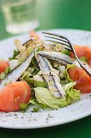 France, Aquitaine, Pyrénées-Atlantiques, Pays Basque, Saint-Jean-de-Luz, Salade d'anchois frais marinés  //  France, Pyrenees Atlantiques, Basque Country, Saint Jean de Luz, Marinated anchovy salad