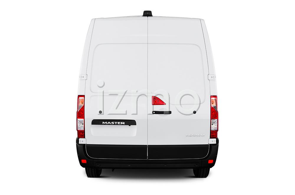 Straight rear view of a 2020 Renault Master Confort 4 Door Cargo Van stock images