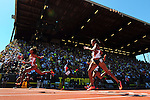 13 JUNE 2015: Runners cross the finish line in the Women's 400 meters during the Division I Men's and Women's Outdoor Track & Field Championship held at Hayward Field in Eugene, OR. Harrison won the event with a time of 12.55. Steve Dykes/ NCAA Photos