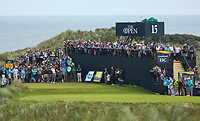150719 | The 148th Open - Monday Practice<br /> <br /> Tiger Woods of USA tees off on the 16th during practice for the 148th Open Championship at Royal Portrush Golf Club, County Antrim, Northern Ireland. Photo by John Dickson - DICKSONDIGITAL