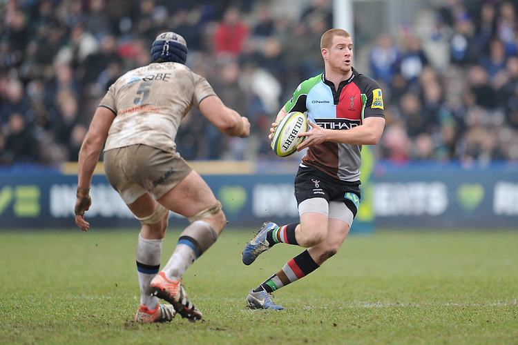 20130309 Copyright onEdition 2013©.Free for editorial use image, please credit: onEdition..Rory Clegg of Harlequins in action during the LV= Cup semi final match between Harlequins and Bath Rugby at The Twickenham Stoop on Saturday 9th March 2013 (Photo by Rob Munro)..For press contacts contact: Sam Feasey at brandRapport on M: +44 (0)7717 757114 E: SFeasey@brand-rapport.com..If you require a higher resolution image or you have any other onEdition photographic enquiries, please contact onEdition on 0845 900 2 900 or email info@onEdition.com.This image is copyright onEdition 2013©..This image has been supplied by onEdition and must be credited onEdition. The author is asserting his full Moral rights in relation to the publication of this image. Rights for onward transmission of any image or file is not granted or implied. Changing or deleting Copyright information is illegal as specified in the Copyright, Design and Patents Act 1988. If you are in any way unsure of your right to publish this image please contact onEdition on 0845 900 2 900 or email info@onEdition.com