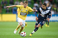MELBOURNE, AUSTRALIA - NOVEMBER 18: Marvin Angulo of the Victory chases the ball during the round 14 A-League match between the Melbourne Victory and Central Coast Mariners at AAMI Park on November 18, 2010 in Melbourne, Australia (Photo by Sydney Low / Asterisk Images)