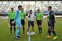 San Jose, CA - Wednesday June 28, 2017: Chris Wondolowski, coin toss prior to a U.S. Open Cup Round of 16 match between the San Jose Earthquakes and the Seattle Sounders FC at Avaya Stadium.