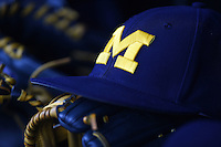 Michigan Wolverines hat and gloves on the bench during the first game of a doubleheader against the Siena Saints on February 27, 2015 at Tradition Field in St. Lucie, Florida.  Michigan defeated Siena 6-2.  (Mike Janes/Four Seam Images)