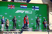 5th September 2021: Circuit Zandvoort, Zandvoort, Netherlands;  HAMILTON Lewis gbr, Mercedes AMG F1 GP W12 E Performance, VERSTAPPEN Max ned, Red Bull Racing Honda RB16B, on the podium, BOTTAS Valtteri fin, Mercedes AMG F1 GP W12 E Performance on the winners podium Dutch F1 Grand Prix