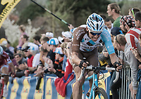Oliver Naesen (BEL/AG2R-LaMondiale) trying to get back to the front up the Paterberg after being involved in a crash with Peter Sagan up the Oude Kwaremont just before<br /> <br /> 101th Ronde Van Vlaanderen 2017 (1.UWT)<br /> 1day race: Antwerp › Oudenaarde - BEL (260km)