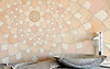 Ever Expanding Lotus, natural stone waterjet mosaic by<br /> Tucker Robbins for New Ravenna Mosaics.