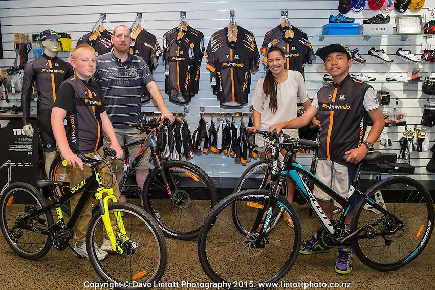 Joshua Johnson, age 13, left, Phillip Johnson, Martha Tamatea and Harlem Tamatea, age 12, Kiwivelo bike presentation at Kiwivelo Cycling, Takapuna, New Zealand on Saturday, 7 November 2015. Photo: David Rowland / lintottphoto.co.nz