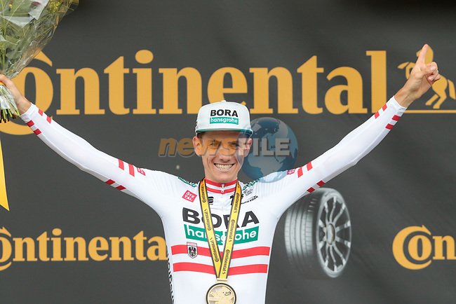 Austrian Champion Patrick Konrad (AUT) Bora-Hansgrohe from the breakaway wins Stage 16 of the 2021 Tour de France, running 169km from Pas de la Case to Saint-Gaudens, Andorra. 13th July 2021.  <br /> Picture: Colin Flockton | Cyclefile<br /> <br /> All photos usage must carry mandatory copyright credit (© Cyclefile | Colin Flockton)