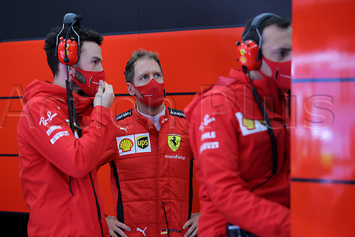 13th November 2020; Istanbul Park, Istanbul, Turkey; FIA Formula One World Championship 2020, Grand Prix of Turkey, Free practise sessions;  5 Sebastian Vettel GER, Scuderia Ferrari Mission Winnow speaks with technical team
