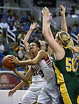 Liberty Patriots' Aubre' Fortner looks to shoot around Manogue defender Madison Lewisduring the Division I semi-final game at the NIAA basketball state tournament at Lawlor Events Center, in Reno, Nev., on Thursday, Feb. 27, 2014. Liberty won 43-33. (Cathleen Allison/Las Vegas Review-Journal)