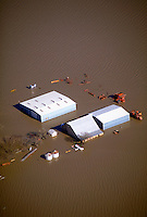 Flooded farmland from January 1997 flooding in northern California. Meridian California USA Sacramento Valley.