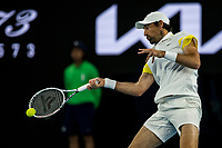 8th February 2021; Melbourne, Victoria, Australia;  Jeremy Chardy of France returns the ball during round 1 of the 2021 Australian Open on February 8 2020, at Melbourne Park in Melbourne, Australia.