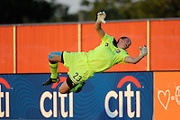 Sky Blue FC goalkeeper Jenni Branam (23). The Western New York Flash defeated Sky Blue FC 4-1 during a Women's Professional Soccer (WPS) match at Yurcak Field in Piscataway, NJ, on July 30, 2011.