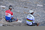 Dutch Champion Mathieu Van Der Poel (NED) Alpecin Fenix and World Champion Julian Alaphilippe (FRA) Deceuninck-Quick Step chill at sign on before the start of Stage 5 of Tirreno-Adriatico Eolo 2021, running 205km from Castellalto to Castelfidardo, Italy. 14th March 2021. <br /> Photo: LaPresse/Marco Alpozzi   Cyclefile<br /> <br /> All photos usage must carry mandatory copyright credit (© Cyclefile   LaPresse/Marco Alpozzi)