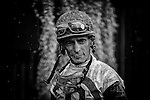 ELMONT, NY - OCTOBER 08: John Velazquez, showing signs of racing on his face, after the 36th Running of The Kelso, on Jockey Club Gold Cup Day at Belmont Park on October 8, 2016 in Elmont, New York. (Photo by Douglas DeFelice/Eclipse Sportswire/Getty Images)