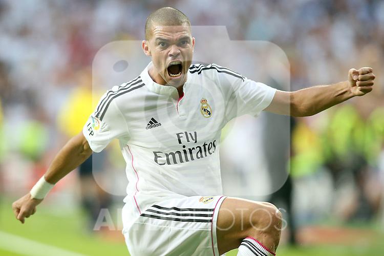 Real Madrid's Pepe celebrates goal during La Liga match.October 25,2014. (ALTERPHOTOS/Acero)