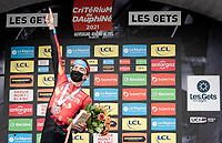 Mark Padun (UKR/Bahrain - Victorious) winning his 2nd consecutive stage after yet another fenomenal solo up the final climb(s).<br /> <br /> 73rd Critérium du Dauphiné 2021 (2.UWT)<br /> Stage 8 (Final) from La Léchère-Les-Bains to Les Gets (147km)<br /> <br /> ©kramon