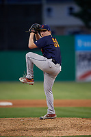 State College Spikes pitcher Connor Lunn (56) during a NY-Penn League game against the Batavia Muckdogs on July 3, 2019 at Dwyer Stadium in Batavia, New York.  State College defeated Batavia 6-4.  (Mike Janes/Four Seam Images)