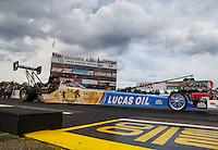 Aug 19, 2016; Brainerd, MN, USA; NHRA top fuel driver Morgan Lucas during qualifying for the Lucas Oil Nationals at Brainerd International Raceway. Mandatory Credit: Mark J. Rebilas-USA TODAY Sports