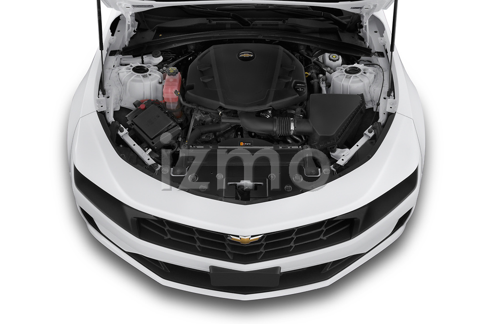 Car Stock 2020 Chevrolet Camaro 1LT 2 Door Convertible Engine  high angle detail view