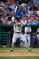 West Michigan Whitecaps right fielder Brady Policelli (6) at bat during a game against the Kane County Cougars on July 19, 2018 at Northwestern Medicine Field in Geneva, Illinois.  Kane County defeated West Michigan 8-5.  (Mike Janes/Four Seam Images)