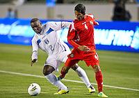 CARSON, CA - March 23, 2012: Wilmer Casildo (2) of Honduras and Carlos Rodriguez (4) during the Honduras vs Panama match at the Home Depot Center in Carson, California. Final score Honduras 3, Panama 1.