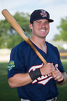Shane Carrier (8) of the Elizabethton Twins poses for a photo prior to the game against the Pulaski Yankees at Calfee Park on July 25, 2016 in Pulaski, Virginia.  The Twins defeated the Yankees 6-1.  (Brian Westerholt/Four Seam Images)