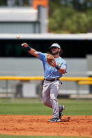 Tampa Bay Rays shortstop Jake Palomaki (57) throws to first base during a Minor League Spring Training game against the Baltimore Orioles on April 23, 2021 at Charlotte Sports Park in Port Charlotte, Florida.  (Mike Janes/Four Seam Images)