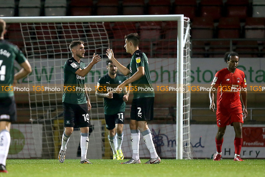 Kelland Watts of Plymouth Argyle (2) scores the second goal for his team and celebrates during Leyton Orient vs Plymouth Argyle, Caraboa Cup Football at The Breyer Group Stadium on 15th September 2020
