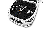 Car stock 2018 Infiniti Q50 Premium 4 Door Sedan engine high angle detail view