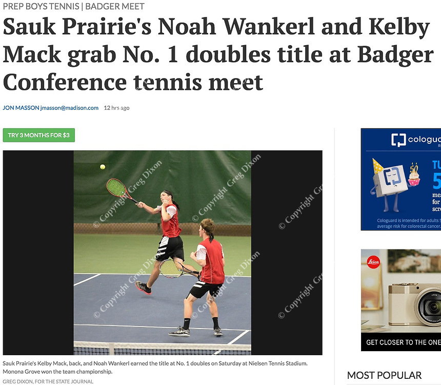 Sauk Prairie's Kelby Mack (left) and Noah Wankerl win #1 Doubles 6-2, 6-2, during the Badger Conference Wisconsin boys high school tennis tournament on Saturday, May 18, 2019 at Nielsen Tennis Stadium in Madison, Wisconsin | 5/19/19 Wisconsin State Journal article in Sports page B5 and online at https://madison.com/wsj/sports/high-school/tennis/sauk-prairie-s-noah-wankerl-and-kelby-mack-grab-no/article_2edf1dc6-465f-5500-af78-d35ba56cc11f.html