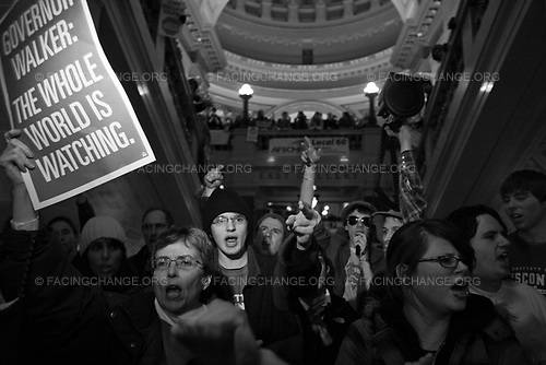 Madison, Wisconsin.<br /> USA<br /> Feb 2011<br /> <br /> Protester speaks out against a proposed bill by Republican Governor Scott Walker inside the State Capitol in Madison, Wisconsin February 22, 2011. Wisconsin Governor Walker, whose bid to reduce public employee union bargaining power has continued to trigger public protest. Democrats who oppose the bill refuse to  debate or vote on the bill.